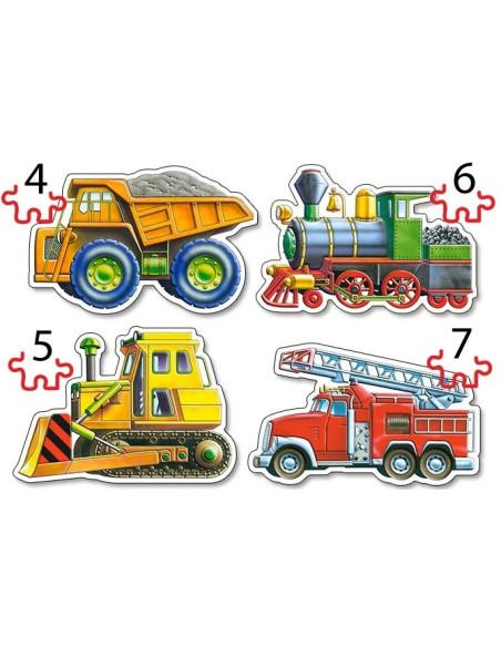 Puzzle - Set 4in1 - Cars - 4, 5, 6, 7 Pcs