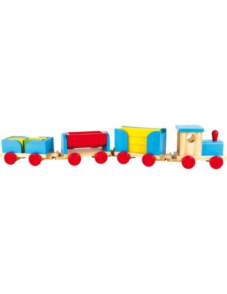 Dřevěný vlak - stavební kostky (90 cm)