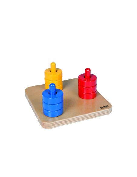 Nienhuis - Barevné kroužky na 3 barevných kolících