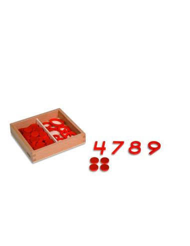 Nienhuis - Čísla a žetony, suchá-lichá  (americký styl číslic)