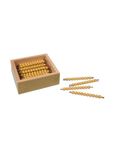 """Nienhuis - 45 kusů zlatých """"desítek"""" v krabičce (umělé perličky)"""