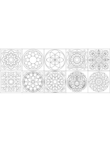 Sada samolepících šablon mandalek 10 ks (10 x 10 cm)
