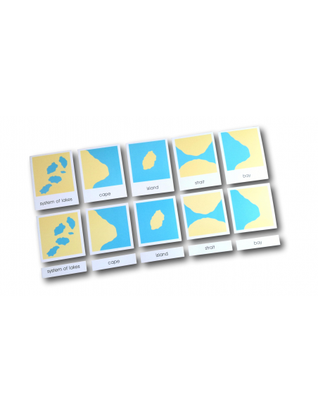 Sorting Cards For Different Shapes Of Dry Land And Water