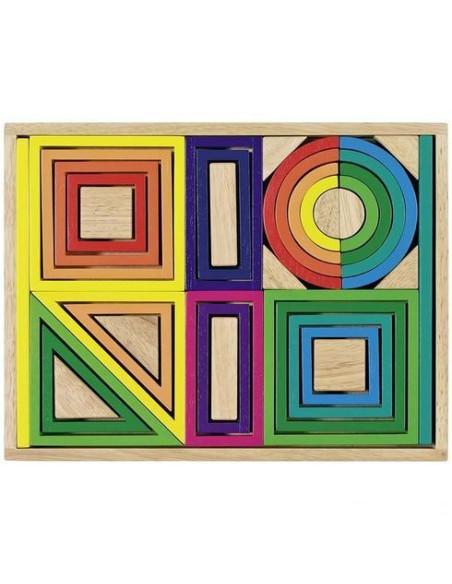Wooden Building Blocks - Rainbow, 38 Pcs