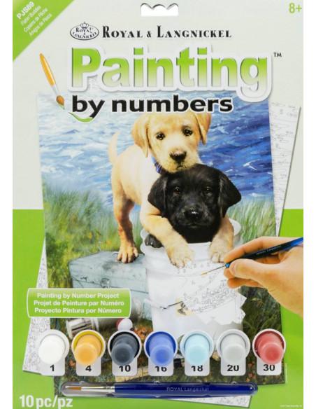 Malování podle čísel- Štěňata
