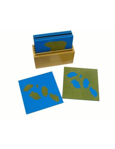 Karty s různými tvary pevniny a vodních ploch