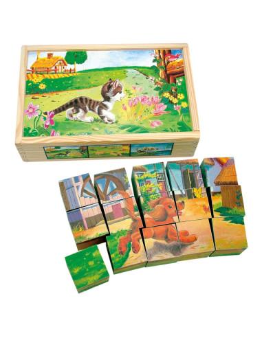 Obrázkové kostky - domácí zvířata - 15dílů