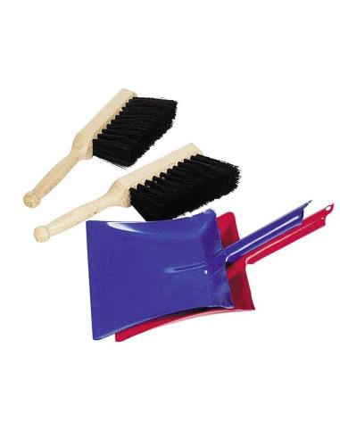 1 Metal Dustpan And 1 Handbroom With Natural Bristles